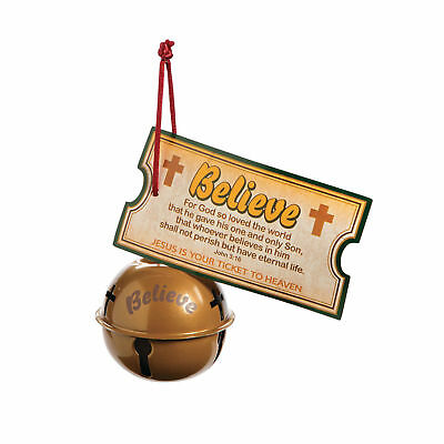 Religious BELIEVE Bell antique Metal Christmas Ornament with attached card