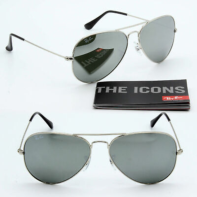 62 mm Ray-Ban aviator new sunglasses for men women silver mirrored lens (62mm Ray Ban Aviator)