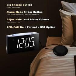 ROCAM Vibrating Loud Alarm Clock with Bed Shaker, Best Sounds, Large LED Display