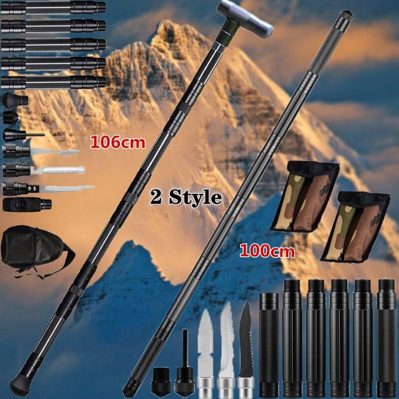 Tactical Survival Walking Trekking Poles Multifunction Alpenstock Portable Stick