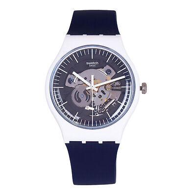Swatch SILIBLUE SUOW156 Men's White & Blue Design Mechanical Skeleton Dial Watch