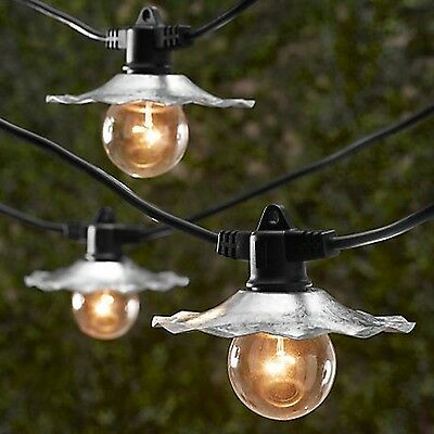35 ft Black European Cafe Outdoor Party Gazebo String Lights Silver Shades