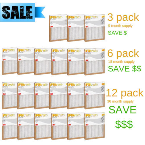 FILTRETE- AIR-FILTER PLEATED FURNACE REPLACEMENT PAD DUST PACK 3, 6, 12 NEW