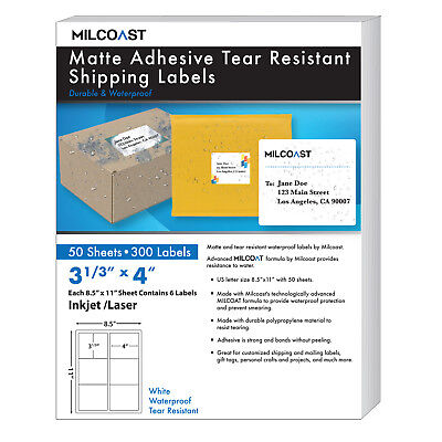 Milcoast Matte Adhesive Tear Resistant Waterproof Shipping Labels 50 Sheets