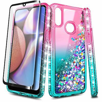 For Samsung Galaxy A10S / A20S Case Liquid Glitter Bling Cover + Tempered Glass