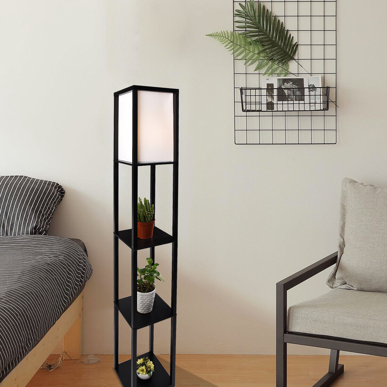 wood shelf floor lamp linen fabric shade