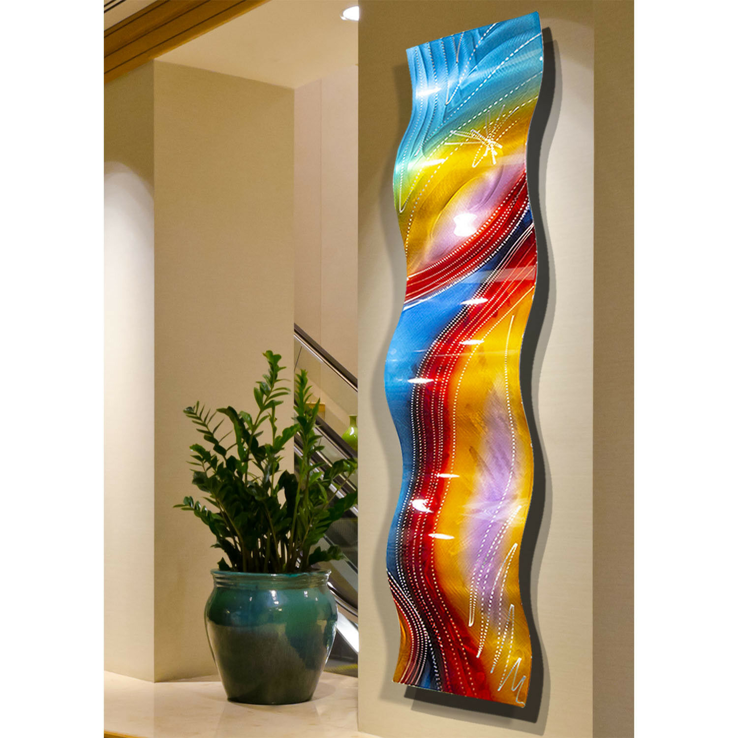 Abstract Metal Wall Art- Large Wave Sculpture - Red Blue ...