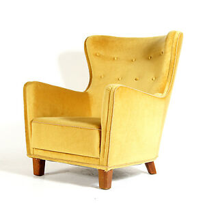 Retro vintage danish modern teak wing back armchair lounge for Designer chairs from the 60s