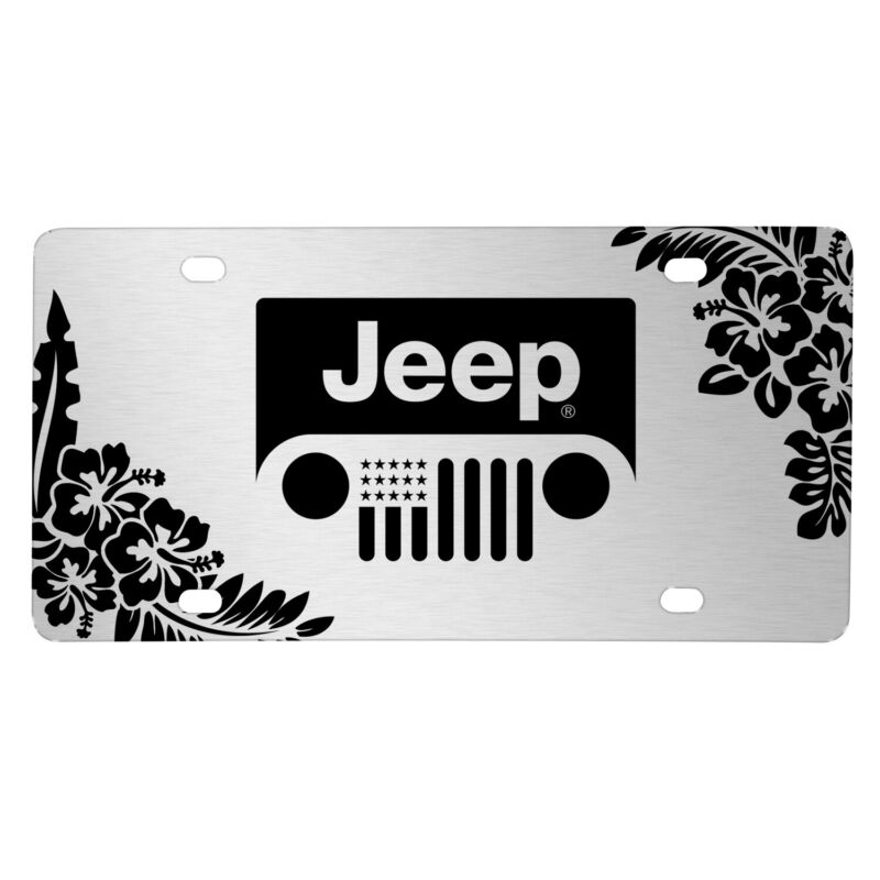 Jeep Grill Logo on Hawaii Flower Graphic Brush Silver Aluminum License Plate