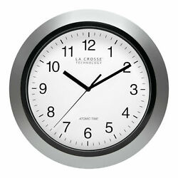 La Crosse WT-3129S 12 Atomic Analog Wall Clock, Silver - Sets Automatically!
