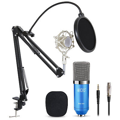 Pro Condenser Microphone Audio Studio Recording Mic W/ Pop Filter Arm Stand Blue