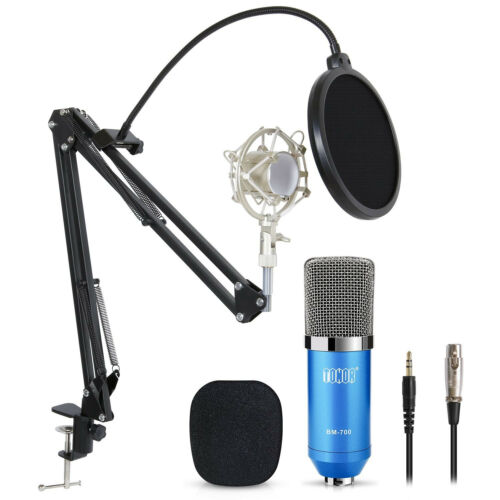 Pro Condenser Microphone Audio Studio Recording Mic W/ Pop Filter Arm Stand Blue