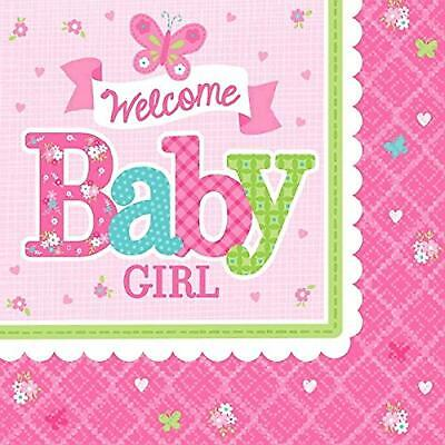 Welcome Little One Girl Pink Butterfly Baby Shower Party Paper Beverage Napkins