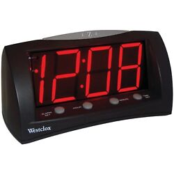 Extra Large Red LED Display Digital Electric Alarm Clock With Battery Back Up