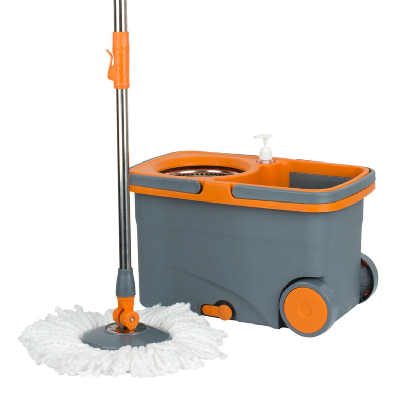 Casabella 8585333 Spin Cycle Kitchen Mop with Bucket and Built In Soap Dispenser