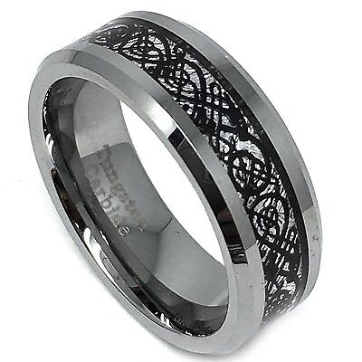 8mm Mens Tungsten Carbide Black Dragon Over Meteorite Inlay Wedding Band Ring Over Tungsten Mens Ring