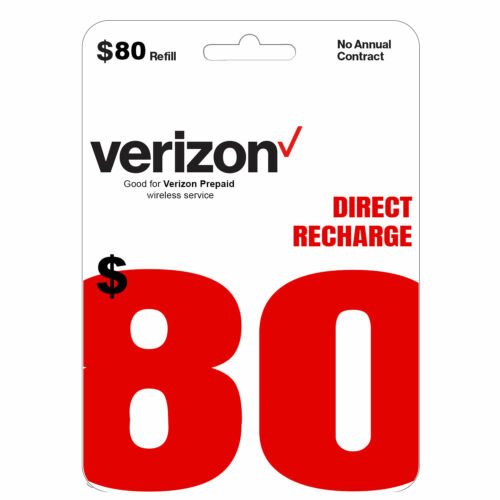 VERIZON Prepaid $80 Refill Top-Up Prepaid Card / DIRECT RECHARGE