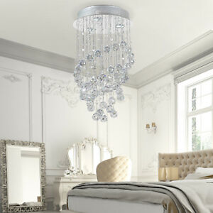Spiral chandelier ebay crystal lamp chandelier ceiling flush mount spiral fixture silver living room aloadofball Images