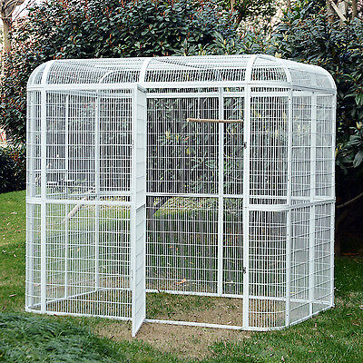 LARGE Bird Cage Playtop Parrot Cockatiel Macare Walk In Aviary Pet House White