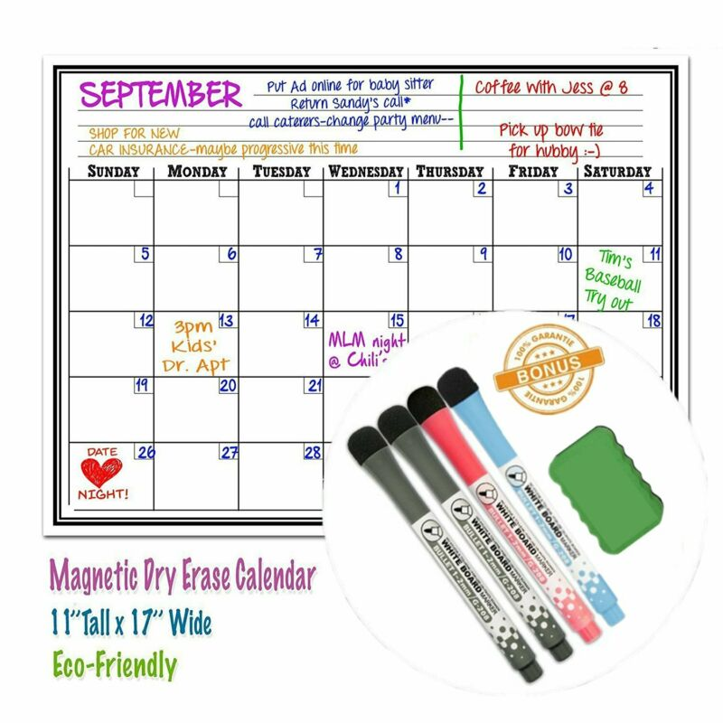 17x11 Weekly Calendar Dry Erase Magnetic Refrigerator White Plan Board Reminder