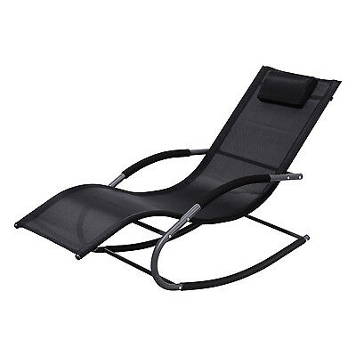 Outdoor chaise lounge chair patio furniture modern rocking for Black outdoor chaise lounge