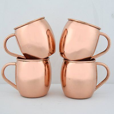 Set of 4 Moscow Mule 100% Solid Pure Copper Unlined Mug 16 Ounce