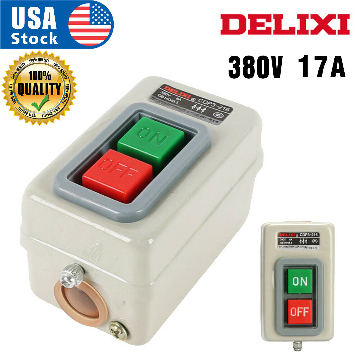 AC 380V 17A 2.2KW ON/OFF 3 Phase Self-Locking Power Push Button Switch Business & Industrial
