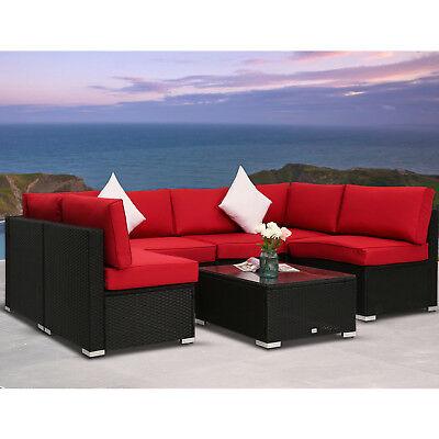 - 7 PC Patio Wicker Sofa Set Sectional Garden Furniture PE Rattan Lawn Poolside