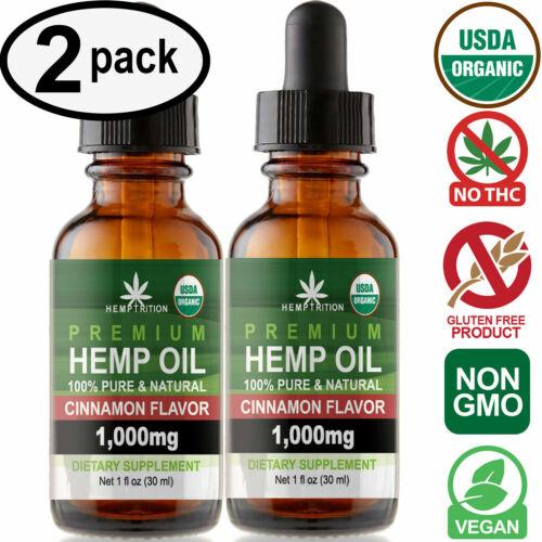 Cinnamon Hemp Oil Drops for Pain Relief, Stress, Anxiety, Sleep (2 PACK)