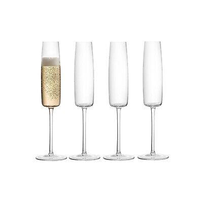 JoyJolt Amara Champagne Glasses, Set of 4 6 Oz Lead-Free Crystal Flute Glasses