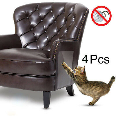 4PC Pet Couch Protector Vinyl Pet Cat Dog Guards Self-Adhesive Scratching Pads