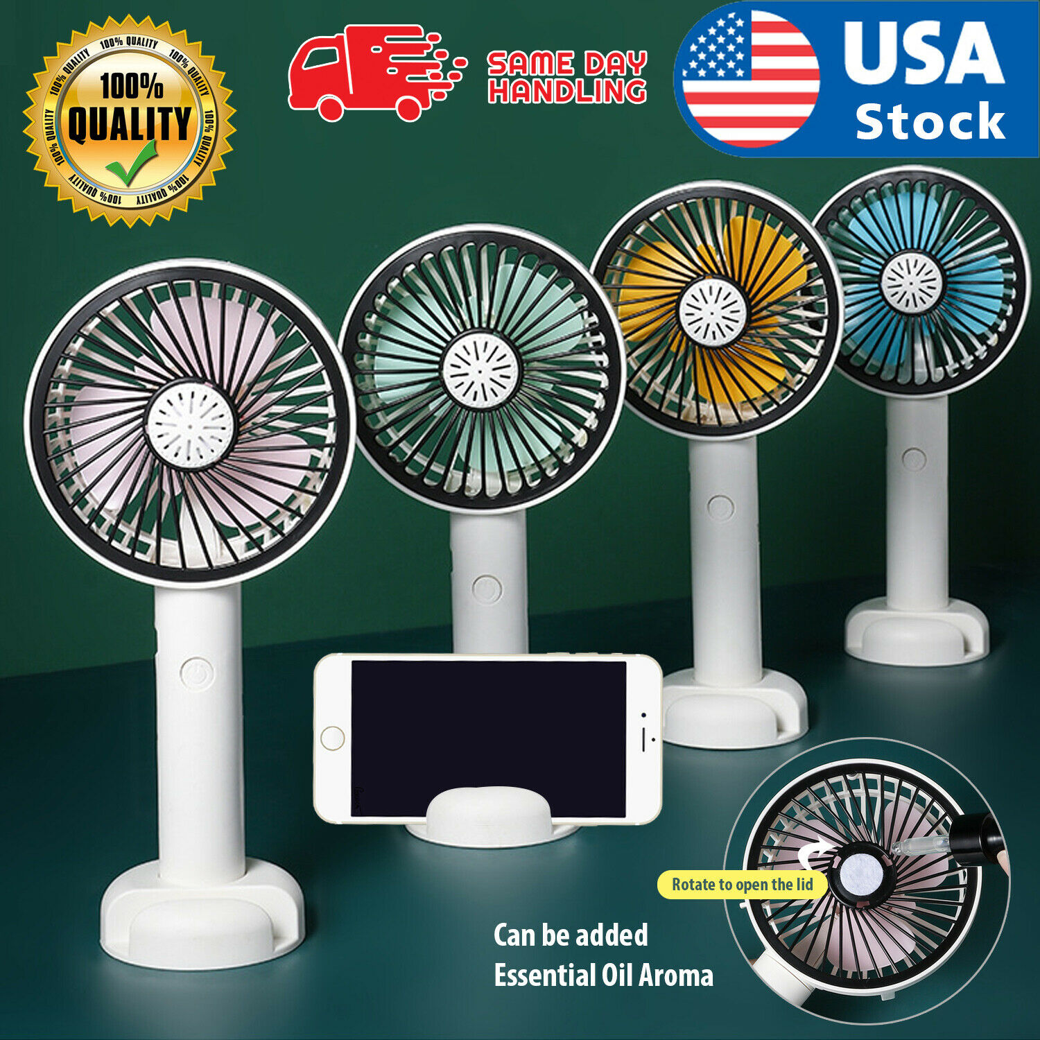 Portable Rechargeable Fan Mini Handy Fan Pocket Size Air Cooler USB w/ Battery Heating, Cooling & Air