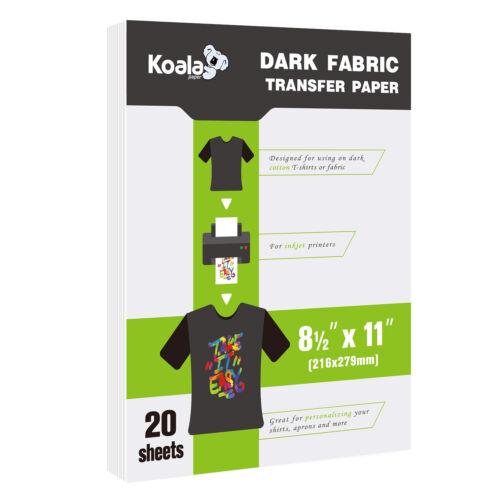 Koala 20 Sheets DARK Fabric Cotton 8.5x11 Inkjet Iron On Heat Transfer Paper