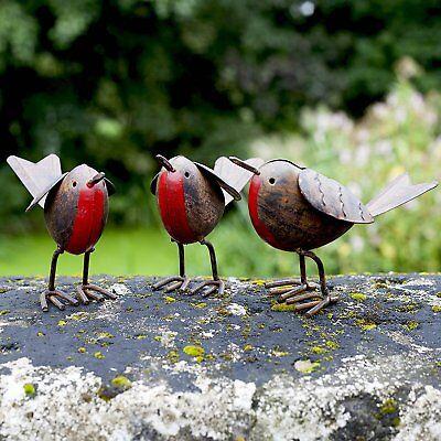Set of 3 Rusty Tin Metal Robin/Sparrow/Wren Bird Garden Ornaments Gift Xmas