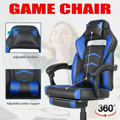 Gaming Chair Office Height Adjustable Footrest Racing Style Recliner