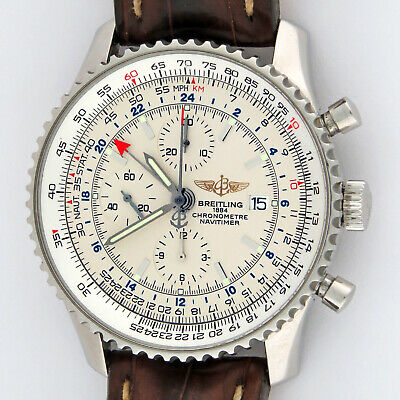 Breitling Navitimer GMT World Chronograph Automatic SS Mens Watch A24322 46mm
