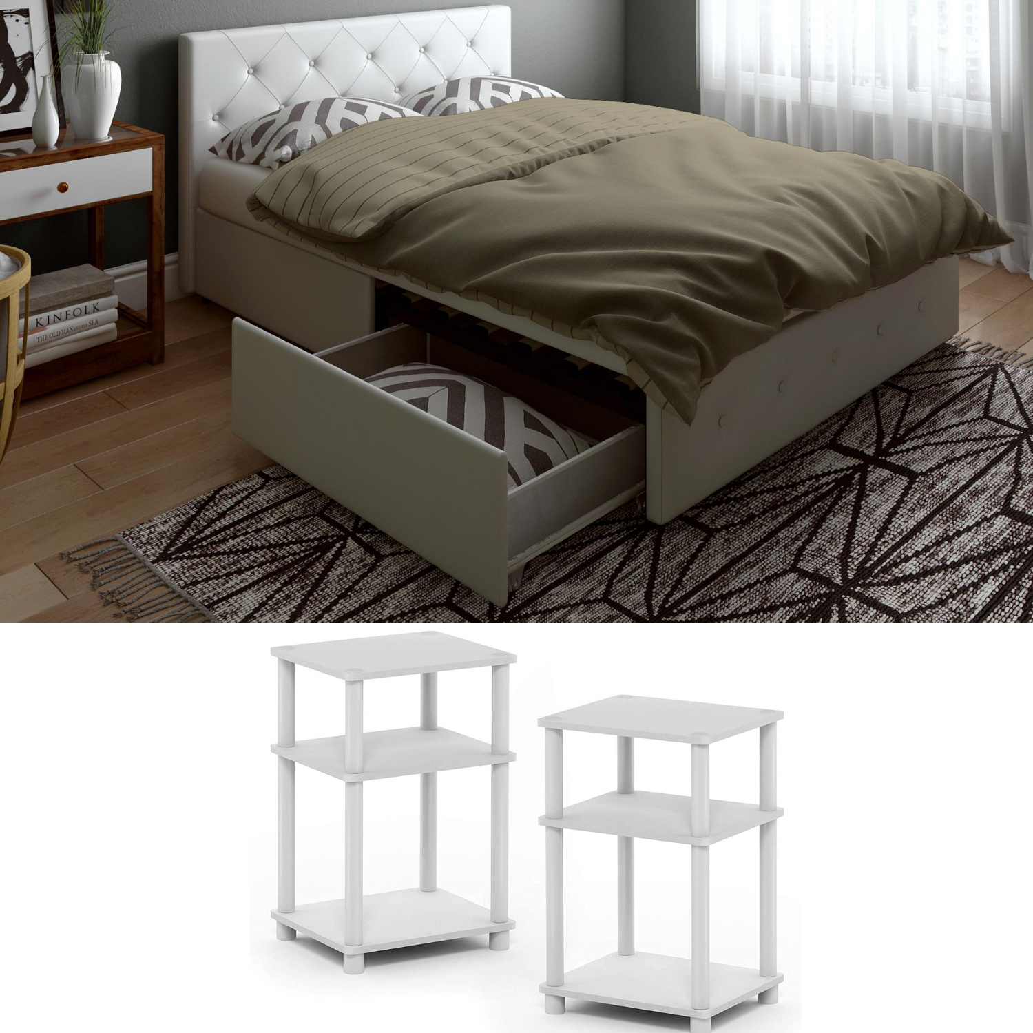 Queen Size Bedroom Set Furniture Modern White Leather Bed Nightstand NEW 3 Piece