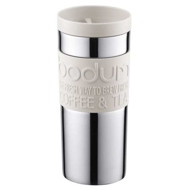 Bodum Stainless Steel Travel Tea Coffee Vacuum Mug Small, 0.35L, White