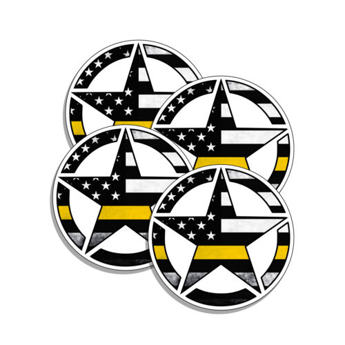 Dispatcher Gold Line Star Tattered American Flag Pro Police Sticker 4 Pack 1.5in