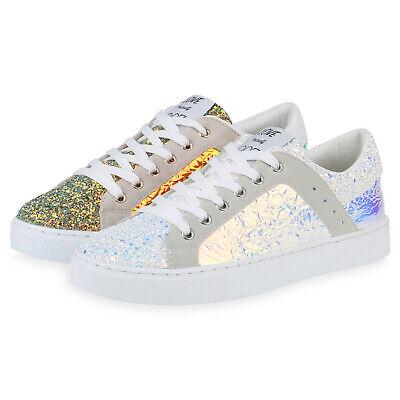 Damen Sneaker Low Metallic Holo Turnschuhe Schnürer Glitzer 830104 Schuhe