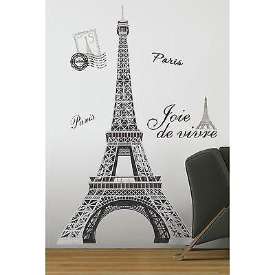 "EIFFEL TOWER MURAL wall stickers 13 BIG decals 55"" tall PARIS room decor"