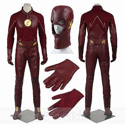 The Flash Season 2 SuperHero Costume Barry Allen Costume Halloween Custom Made