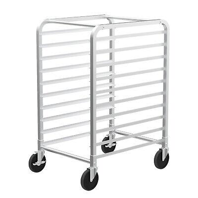 10 Tier Aluminum Bakery Rack Bun Pan Sheet Racking Trolley W Lockable Casters