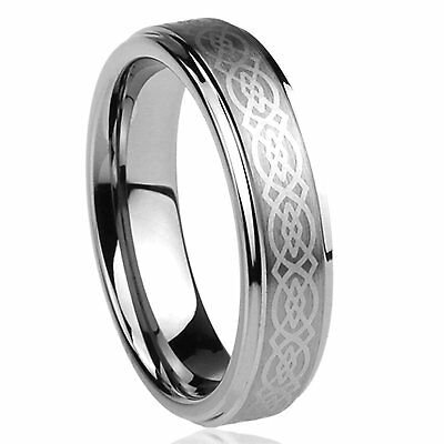 6mm Ladies Tungsten Carbide Celtic Knot Loyalty Wedding Band Ring  Ladies Tungsten Wedding Band