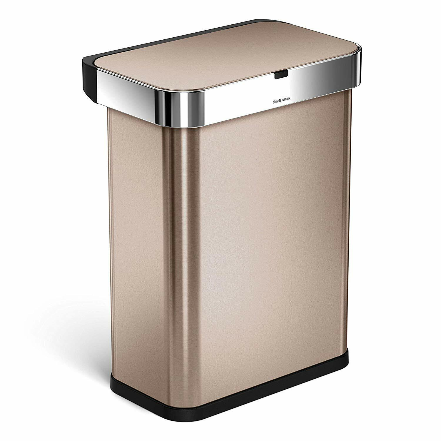 58 Liter Gallon Stainless Steel Sensor Trash Can with Voice