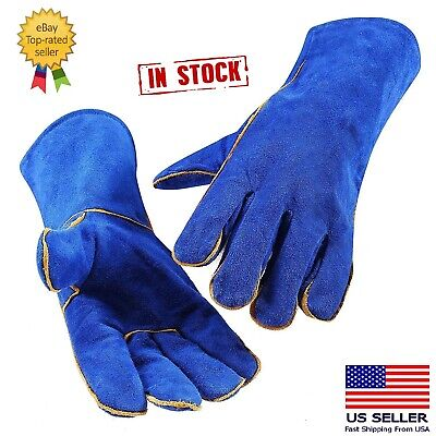14 Inch Welding Gloves Blue Heat Resistant Lined Leather For Mig Tig Welders