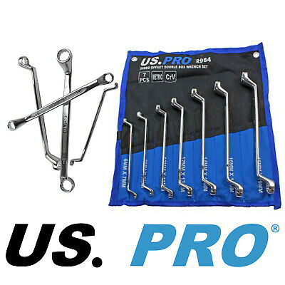 Offset Ring Wrench Set (7pc OFFSET RING SPANNER SET by US PRO TOOLS 6mm to 19mm Swan Neck Metric Wrench)