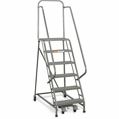 Ega L026 Industrial Rolling Ladder 6-step 26 Wide Perforated Gray 450lb.
