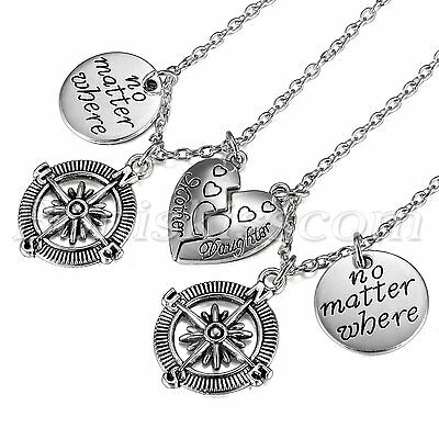 Mother Daughter Best Friends No Matter Where Heart Compass Pendant Necklace (Mother Daughter Best Friends)