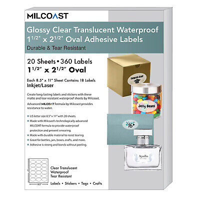 Milcoast Glossy Clear Translucent 1-12 X 2-12 Oval Labels 20 Sheets